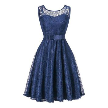 Ball Gown Lace splicing  fashion navy wedding party dress prom Short Bridesmaid Dresses