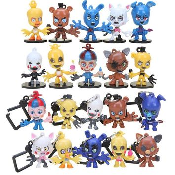 10Pcs/SET  5  With Freddie Five Night At Freddy Game Bear Foxy Bonnie Chica Mangle Figures Toy for Boys