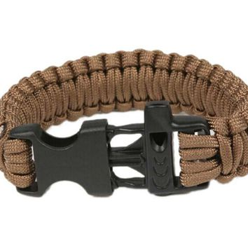 Paracord Survival Bracelet With Survival Whistle, Fits 7-9 Inch Wrists, Brown