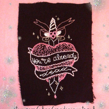 CRASS ''You're Already Dead'' Anarchy Banner Sacred Heart and Dagger Hand Embroidered OOAK Patch