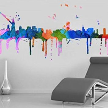 Chicago Skyline Watercolor Stickers, 58.3 x 26 Inches | 148 x 66 cm