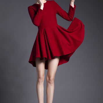 Red Long Sleeve A-Line Pleated Mini Dress