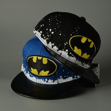Trendy Winter Jacket 4 Colors 2018 Fashion Children Cute Baby Cotton Kids Hip-hop Snapback Batman Baseball Cap Hats AT_92_12