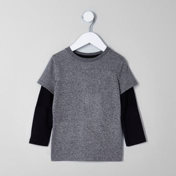 Mini boys black and grey double layer T-shirt - Baby Boys Tops - Mini Boys - boys