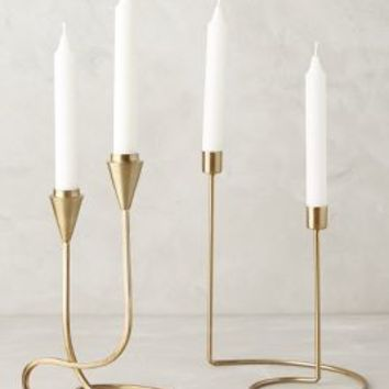 Cursive Candlestick by Anthropologie in Gold Size:
