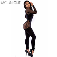 MOONIGHT 2016 Sexy  ladies bodysuits Long Sleeve Jumpsuit Sexy Slim Pants Bodysuit Rompers Free shipping