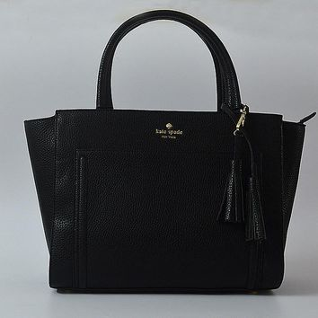 Fashion Kate Spade Women Classic Shopping Leather Tote Handbag Shoulder Bag Color Black
