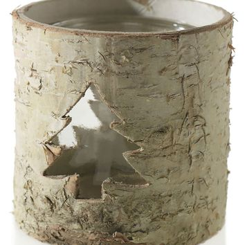 "Natural Birch Candle Holder with Christmas Tree Cutout - 3.75"" Tall"