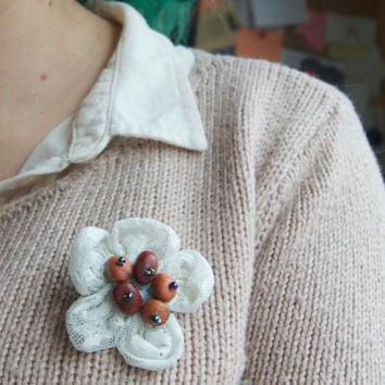Eco friendly lace flower brooch - Upcycled t-shirt and repurposed beads - Rustic wood and cream lace brooch - Handmade and unique