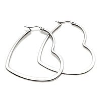 Stately Steel Stainless Steel Heart-Shaped Flat Hoop Earrings - 7626056 | HSN