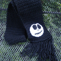 ON SALE Jack Skellington inspired crochet soft scarf - white - black - nightmare - christmas - fall - Holiday - toddler - kids- adults - Ha