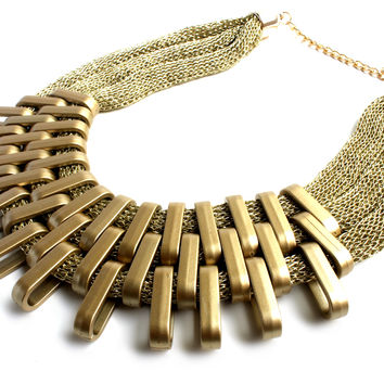 """Queen Of The Scene"" Matte Gold Statement Necklace"