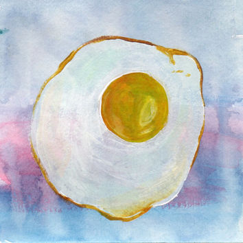 Fried Egg Watercolor and Acrylic Painting, Egg Kitchen Painting, Home Decor Painting