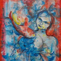 Lady of the Lake - an original modern painting, acrylic on canvas