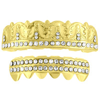 Leaf Design 2 Row Iced Grillz Set 14k Yellow Finish