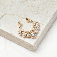Gold Rhinestone Crown Faux Septum Nose Ring