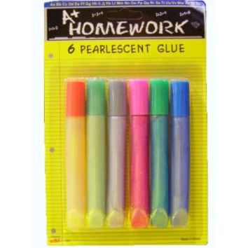 pearlescent glue tubes - 6 pack Case of 48