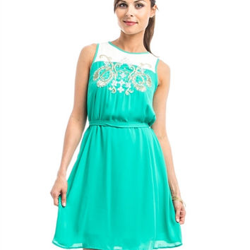 Mint Green Gold Embroidered Dress