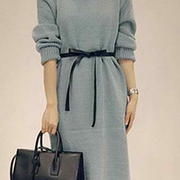 Gray Turtle Neck Long Sleeve Belted Knitted Dress