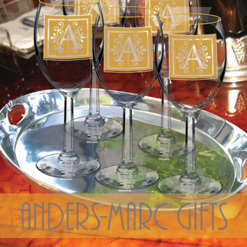 7 to 12 Party Wine Glasses 24 kt Gold Rimmed Personalized * Custom Name, Role & Date Bridal Wedding Party Stemware * Red or White Wine *