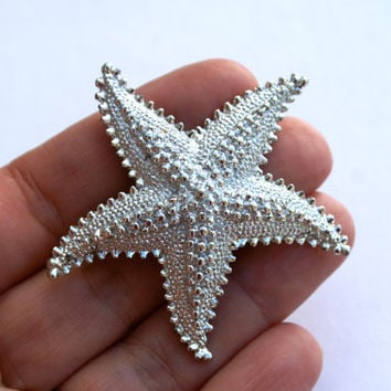 Starfish Pin, Vintage Silver Tone Brooch, Sea Shell Pin