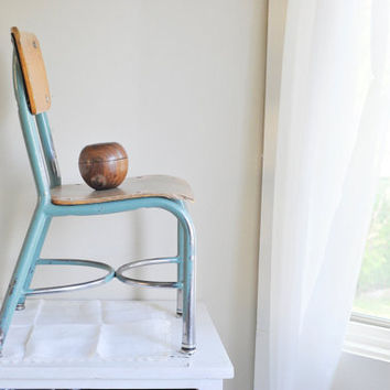 Vintage Child's School Chair Teal Metal and Wood Plywood