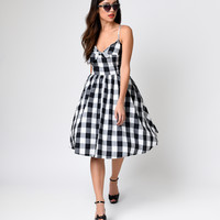 1950s Style Black & White Cattle Kate Gingham Swing Dress