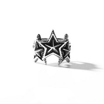 """""""Cody Sanderson"""" Fashion Retro Punk Five-pointed Stars Unisex Ring Couple Little Finger Ring Open Ring"""