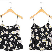 Pleated Flower Print Tank Vest