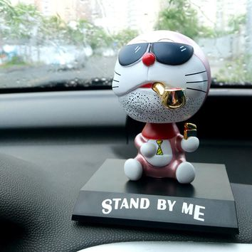 PVC Shaking Head Dolls For Doraemon Automobile Car Decoration Ornaments Toys Cute Cat Cartoon Figurines Car Accessories Gifts