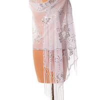 White Fringed Sequin Mesh Tulle Evening Wrap