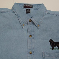 NEWFOUNDLAND DOG Embroidered Small to 4XL Long Sleeve Light Blue Denim Shirt - Price Embroidery Apparel
