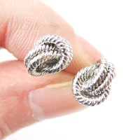 Classic Nautical Themed Rope Knot Shaped Stud Earrings in Silver