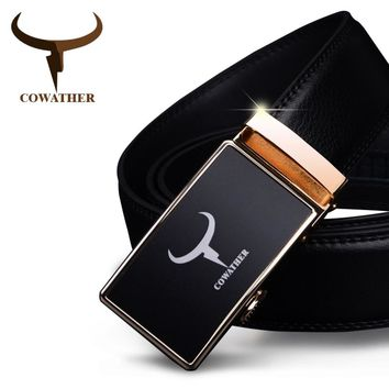 COWATHER mens belt cow genuine leather belts for men 2017 fashion automatic alloy gold silver buckle black strap new arrival