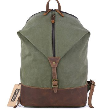 Canvas Leather Backpack - Vintage Causal Day Pack Travel Rucksack