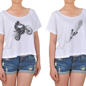 Women Motorcycle Riders Printed Cotton Croptop WTS_08