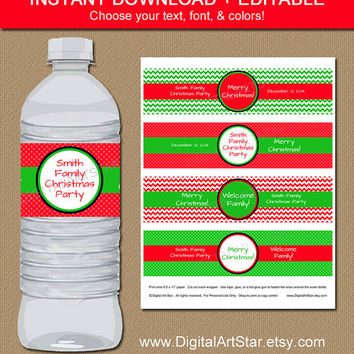 INSTANT Chevron Christmas Water Bottle Labels - EDITABLE in Adobe Reader - DIY Printable Christmas Holiday Drink Wrappers - Red Green
