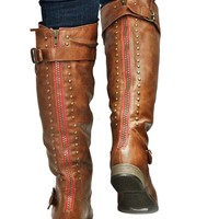 New Womens FL42 Red Zipper Tan Studded Riding Knee High Boots Sz 5.5 to 10