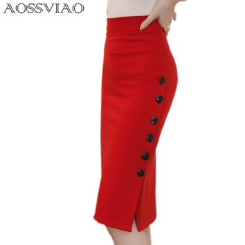 2017 Spring Sexy Chic Pencil Skirts Office Look Mid Waist Mid-Calf Solid Skirt Casual Slim Hip Placketing plus size skirt S~5XL