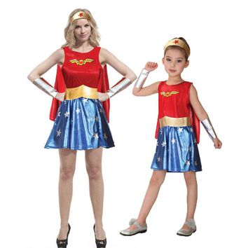 Umorden Purim Carnival Party Halloween Costumes Family Wonder Woman Cosplay Wonder Girl Costume Fancy Dress for Adult Kids
