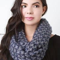 Two-Tone Fuzzy Loose Knit Infinity Scarf