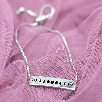 Moon Phases Silver Bar Adjustable Bracelet