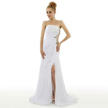 New Design Chiffon Sleeveless Appliques Beads Long Prom Dresses Strapless Floor Length Prom Gowns