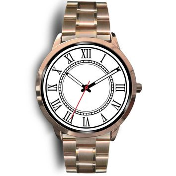 Rose gold stainless steel and leather watches for men and women