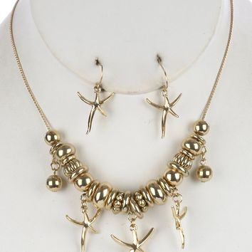 Gold Metallic Ring Bead Starfish Charm Necklace And Earring Set