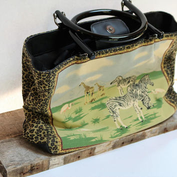 Vintage Boho Handbag Top Handle Paradox African Animal Print Scene Bag Beaded Canvas Faux Leather Tote Bag
