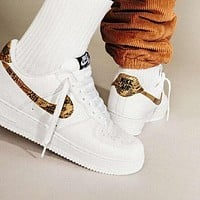 NIKE AIR FORCE 1 Ivory Snake Fashionable Women Men Casual Running Sneakers Sport Shoes