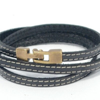 mens leather bracelet * black leather bracelet * anniversary gift for men * gifts for dad * triple wrap bracelet * hipster bracelet