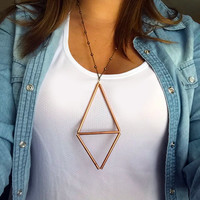 Geometric Necklace, Triangle Necklace, Copper Tube Necklace, Diamond Shape, Metal Tube Necklace, Satellite Chain Necklace