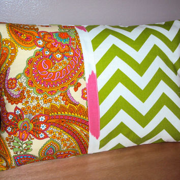 18x12 Modern Color Block Lumbar Pillow Cover In Green Chevron and Multicolor Paisley Fabric